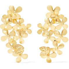Pippa Small 18-karat gold earrings (12.080 RON) ❤ liked on Polyvore featuring jewelry, earrings, 18k jewelry, flower jewellery, matte gold earrings, pippa small jewellery and 18k earrings