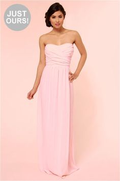 ♥LULUS Exclusive Slow Dance Strapless Pink Maxi Dress ♥ Possible Homecoming Dress♥