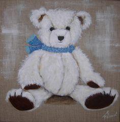 tableau de nounours avec son écharpe bleu clair : Autres par galeriefaby