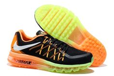 Barato Nike Air Max 2015 Negro Verde Mango Plata Zapatillas, hot in 2015 for women