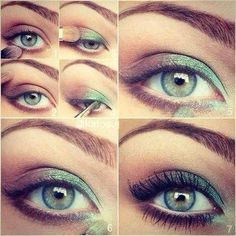photo tuto maquillage yeux verts marron