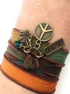 Bohemian Peace Sign Silk Wrap Bracelet Believe Yoga Jewelry Hippie Stocking Stuffer Christmas Unique Gift For Her Under 50 Item P21. $25.95, via Etsy.