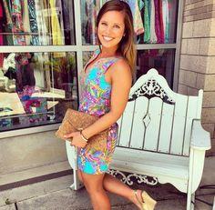 Via @pinknarcissustallly Instagram- Lilly Pulitzer Gabby Shift Dress in Sea Blue Summer Haze
