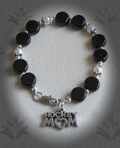 Hockey Bracelet/Hockey Jewelry/Hockey Bracelets/Hockey Mom/Hockey Mom Jewelry/Hockey Moms/Hockey Gift/Hockey Gifts/Hockey Puck/Ice Hockey