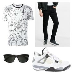 """men outfit"" by cristina-mihaela-gabriela-oprea on Polyvore featuring Dolce&Gabbana, Express, Jordan Brand, Ray-Ban, men's fashion and menswear"