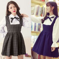 Sweet bowknot students lantern sleeve fake off two shirt dresses