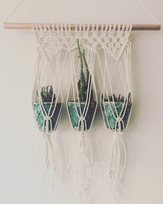 A lovingly handmade small plant hanger for your beloved plants! Made from cotton rope. The copper pipe measures 40cm wide, macrame approx 52cm long. Pots not included. Other designs and options are available, please see other listings or contact me with a custom request. Thank you.