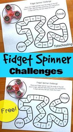 FREE Fidget Spinner challenge games for kids to re Sight Words, Sight Word Games, Sight Word Activities, Cvc Words, Teaching Reading, Fun Learning, Reading Games For Kids, Reading Practice, Educational Games For Kids