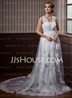 Wedding Dresses - $180.29 - A-Line/Princess V-neck Chapel Train Satin Tulle Wedding Dress With Lace Beadwork (002011532) http://jjshouse.com/A-Line-Princess-V-Neck-Chapel-Train-Satin-Tulle-Wedding-Dress-With-Lace-Beadwork-002011532-g11532