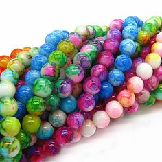 6mm 8mm 10mm Mix Color Round Shape Chunky Beads Chic Loose Glass Crackle  Beads for Couture 7f99d0ac1fc
