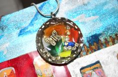 Stained Glass Bottle Cap Necklace by TheTwistedCharm on Etsy, $24.00