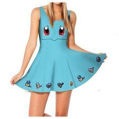 Blue Sleeveless Pokemon Squirtle Women's Dress Cosplay Costume