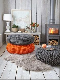 Poufs are a cozy and comfortable seating option.