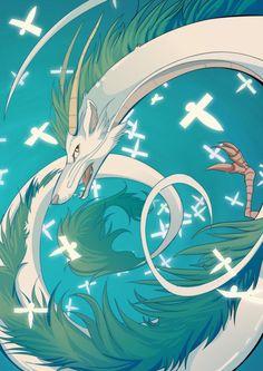 #FanArtGhibli Haku, un dragón entre dos mundos... 'El viaje de Chihiro' (por http://nobunnyvirus.deviantart.com/)
