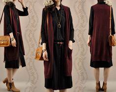 Женщины в осень лаконичный с v образным вырезом средний длинная свитер жилет свободного покроя без рукавов шерсть свитер кардиган верхняя одежда женское 1036купить в магазине No.24 WarehouseнаAliExpress