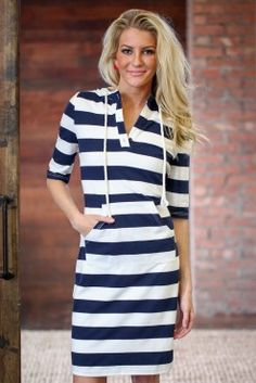 Hooded Nautical Stripe Dress