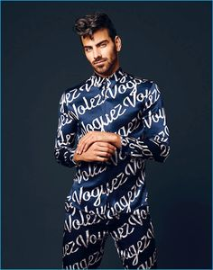 Model Nyle DiMarco embraces an all-over print from French fashion house Louis Vuitton.