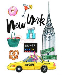New York City art NYC art print  by RongrongIllustration on Etsy