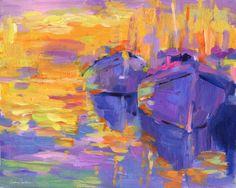 "Saatchi Online Artist: Svetlana Novikova; Acrylic, Painting ""Impressionistic Boats in a sunset painting"""
