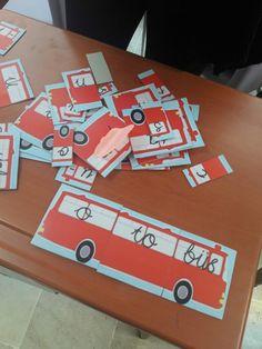 Heceleri birleştirip otobüsü tamamlayarak anlamlı kelimeler oluşturma çalışması