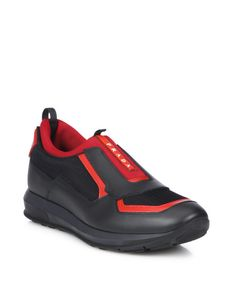 Prada   Red Punta Ala Low Top Leather Sneakers for Men   Lyst