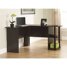 L-Shaped Corner Computer Office Desk in Dark Cherry Finish - Quality House
