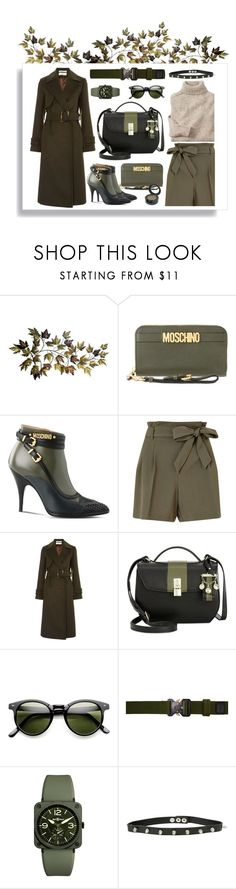 """""""Khaki."""" by ezgi-g ❤ liked on Polyvore featuring Moschino, Miss Selfridge, Topshop, Nine West, Alyx, Bell & Ross, Hot Topic, GREEN, khaki and armygreen"""