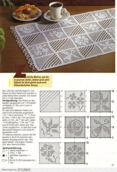 This Pin was discovered by Hal Filet Crochet Charts, Crochet Borders, Crochet Diagram, Crochet Squares, Crochet Motif, Crochet Designs, Crochet Doilies, Crochet Patterns, Crochet Table Runner
