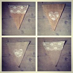Rustic lace & hessian bunting triangles. Available to hire in South Wales. Perfect for a country wedding! Visit: www.facebook.com/MadeByGemmaBunting #rustic #wedding #lace #burlap #hessian #bunting Hessian Bunting, Burlap, Wedding Lace, Rustic Wedding, South Wales, Make And Sell, Triangles, Wedding Stuff, Facebook