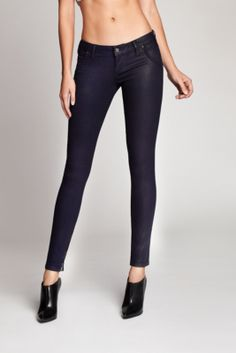 Low-Rise Indigo Moto-Seam Skinny Jeans in Clear Coated Wash 2 | GUESS.ca