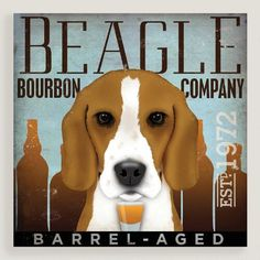 Perfect for dog lovers and bourbon drinkers alike, our poster-style artwork adds a shot of whimsy to your wall.