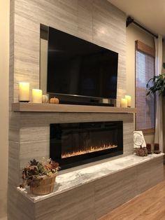 Interior Design: 35 Ideas How To Get A Modern Home inspirierendes modernes Wohnzimmer, flacher Kamin, Design-Idee Fireplace Tv Wall, Linear Fireplace, Fireplace Remodel, Fireplace Design, Fireplace Ideas, Basement Fireplace, Mantel Ideas, Farmhouse Fireplace, Tv Stand With Fireplace