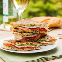 A delicious turkey pesto panini with roasted red pepper. Not in the mood to make dinner? Make this instead in under 30 minutes! Gluten free too.