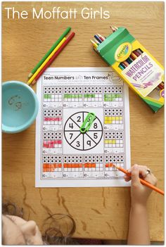 Teen Numbers with Ten Frames- Build math skills with this fun GAME! Spin a number, color in the ten frame and complete the addition problem