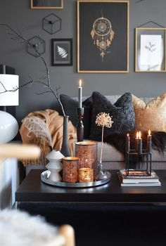 room decor Feeling very by this black, gray and gold Great design an. Feeling very by this black, gray and gold Great design and for the season. Living Room Decor Cozy, Home Living Room, Interior Design Living Room, Living Room Designs, Decor Room, Bedroom Decor, Copper Living Room Decor, Interior Design Candles, Living Room Candles