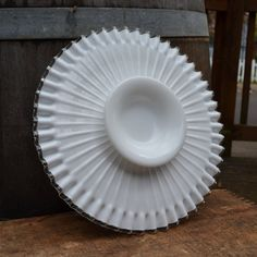 Milk Glass Cake Stand by Fenton Silver Crest by silkcreekgallery, $75.00