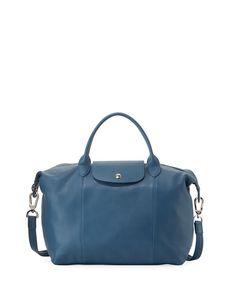 5948d793 LONGCHAMP Le Pliage Cuir Medium Tote Bag, Pilot Blue. #longchamp #bags #