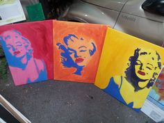 Three Times a Marilyn. Acrylic on canvas. 30 x Pop Art Portraits, Full Set, Times, Canvas, Color, Tela, Canvases, Colour, Colors
