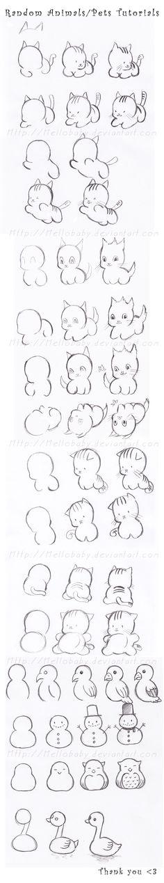 pour ceux qui veulent apprendre à dessiner des chats...
