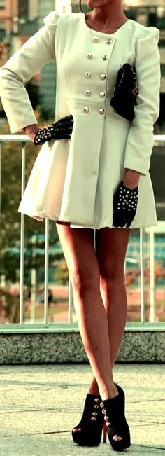 Flare Coat, Gloves & Heeled  Booties ♥ L.O.V.E