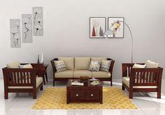 Raiden Wooden Sofa 3 1 Mahogany Finish