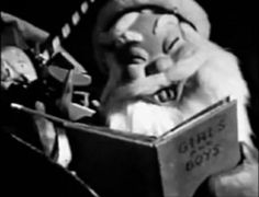 Creepy Santa Claus from the WGN produced The Three Little Dwarfs: Hardrock, Coco and Joe, 1951, Chicago.  This local holiday favorite, almost always shown back to back with Suzy Snowflake, can still be seen on WGN each Christmas. Check your local listings.