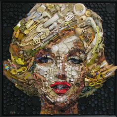 """Kirkland Smith has created a series of Assemblages using post-consumer waste which is mostly non-recyclable. He describes each Assemblage as """"a little history of our consumerism"""". Viewed at close range, the artwork looks like a pile of trash, but as the viewer steps back the image comes into focus to reveal a face, landscape, or object / http://www.kirklandsmith.com"""