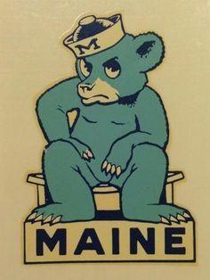 Old school Maine logo. Logos Vintage, Vintage Comics, Vintage Graphic, Vintage Cartoon, Vintage Branding, Vintage Designs, Hockey Logos, Sports Team Logos, Sport Inspiration