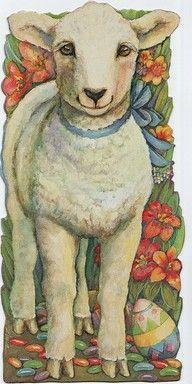 Free freebie printable vintage Easter lamb