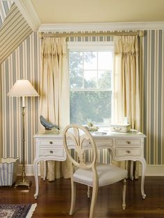 Home Decor - striped wall paper, antique style furniture.