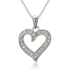 ICZ Stonez Sterling Silver Open Heart Necklace Made with Swarovski... ($20) ❤ liked on Polyvore featuring jewelry, necklaces, white, chain necklaces, rolo chain necklace, long pendant necklace, sterling silver jewelry and pendants & necklaces