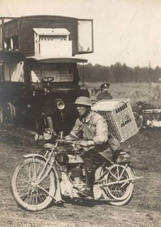 A British soldier rides a motorbike with a basket of pigeons on his back, on his way to delivering them to the frontline on the Western Front in 1916 A previously unpublished set of World War One (WWI) images from a private collection. The pictures offer an unusual view of varied and contrasting aspects of the conflict, The year 2014 marks the centenary of the start of the war.