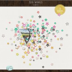 (10) sets of scattered sparkly stars coordinating with Keen Kit to adorn layouts, completely mess-free and addicting, ideal for digital and hybrid scrapbook layouts and projects.
