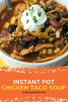 Taco soup isn't just for the fall! This chicken taco soup is perfect for the whole family! Simple ingredients and is great for meal prepping. If you have leftovers, be sure to freeze them for later! This is a great way to use up rotisserie chicken too! If you are following Weight Watchers, this is a Zero point recipe if you are on the Blue or purple plan! Chicken Taco Soup, Chicken Tacos, Rotisserie Chicken, Clean Eating Recipes, Cooking Recipes, Slow Cooker Potato Soup, Chickpea Stew, Best Instant Pot Recipe, Dinner Recipes